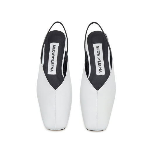 Square toe sling back (white)