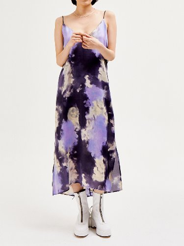Tie-dye silky dress - PURPLE