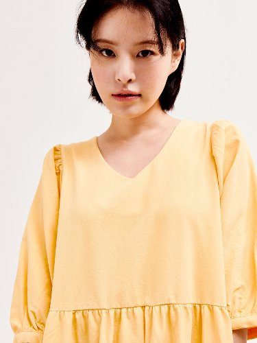 Puff Shoulder Dress[YELLOW]