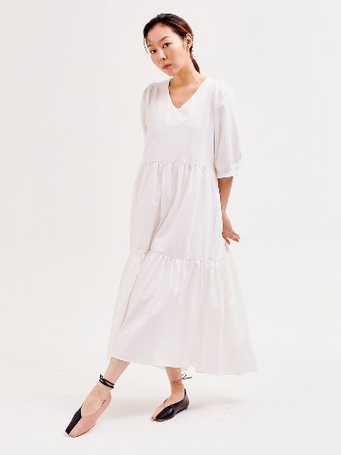 Puff Shoulder Dress [WHITE]
