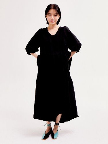 Puff Shoulder Dress [BLACK]