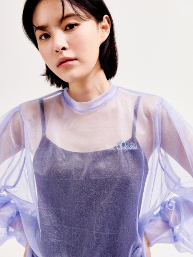 See-through crop blouse [SKY]