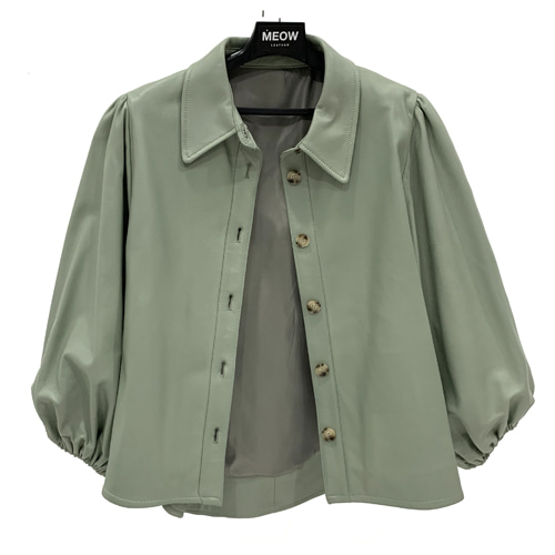 41.[-70%] Balloon puff leather blouse _ Mint