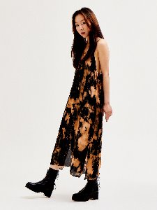 Tie-dye silky dress - BLACK