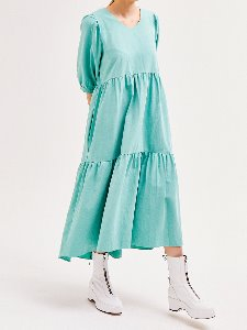 Puff Shoulder Dress [MINT]