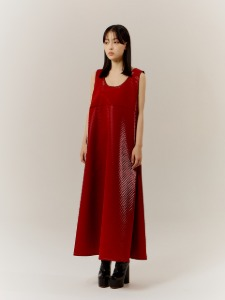 MEOW QUILTING LONG DRESS _ RED